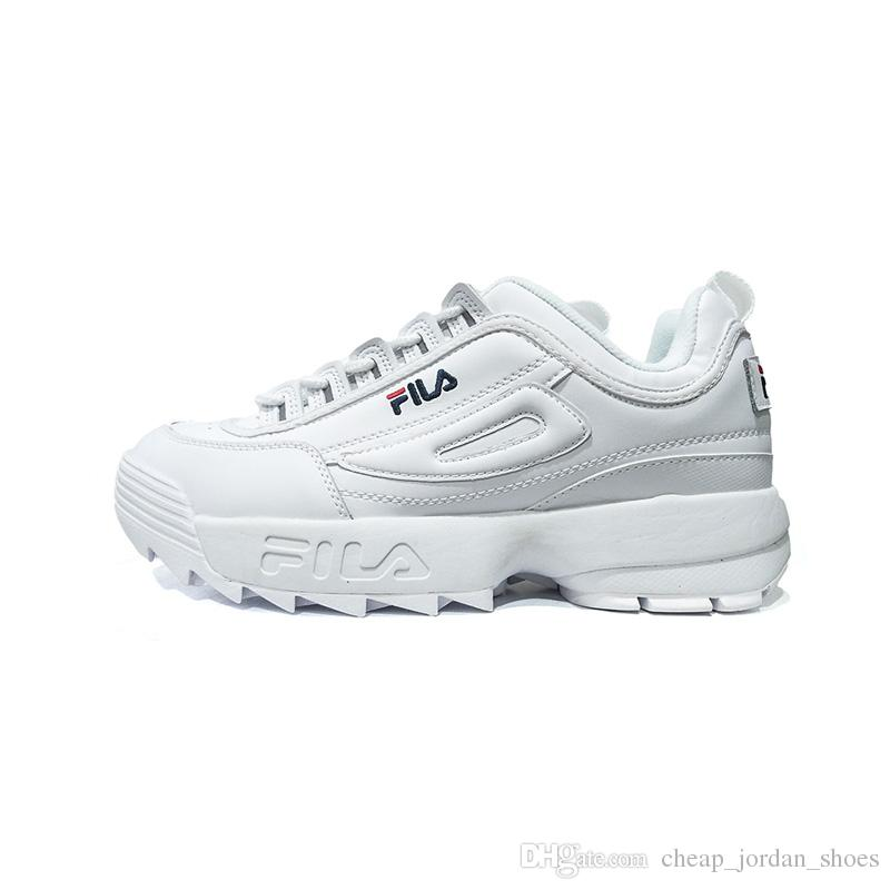 FILA Disruptors II 2 Zapatos Triple White Black Grey Pink Women Men Scarpe Trainer Sports Sneaker Increased Jogging Running Shoes Size 36 44 Winter
