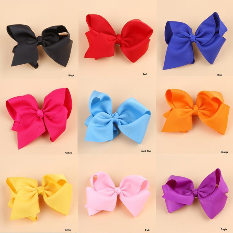 Fashion Grosgrain Ribbon Bow Hair Clip Pin Flower Headdress Accessories Orange Pink Green Yellow White Black BB-156