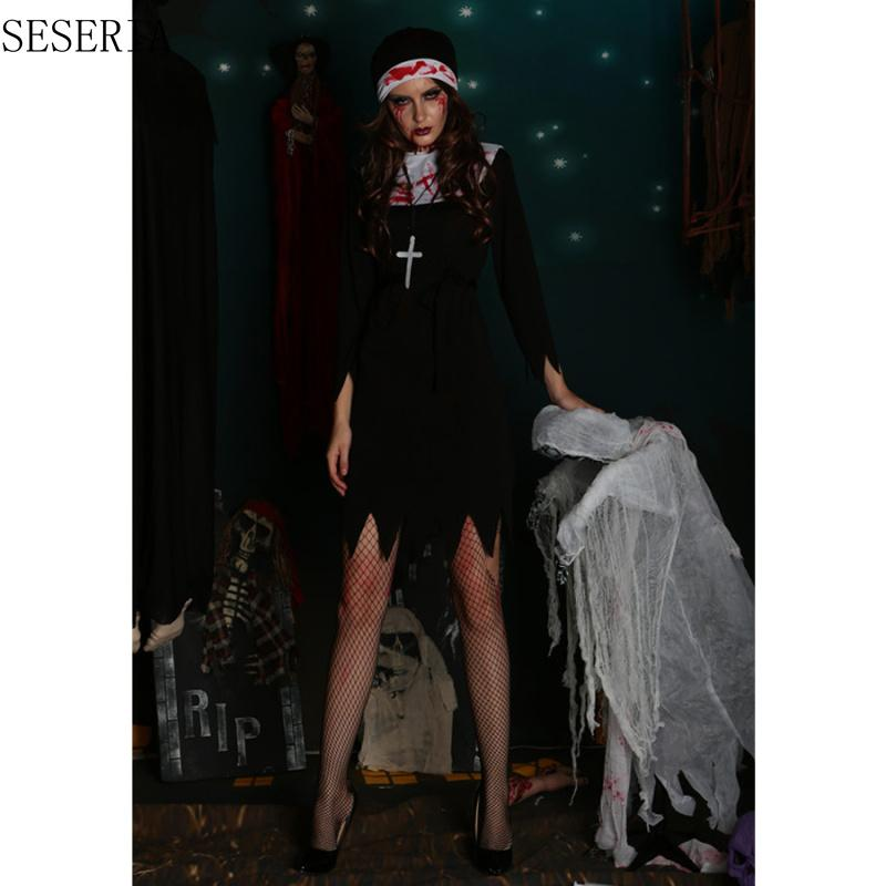 SESERIA M L XL Halloween Scary Nun Bloody Cosplay Dress Halloween Theme Party Terror Nun Costumes