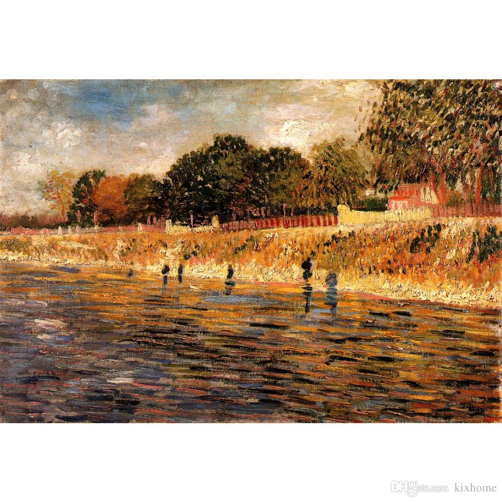 Fine art painting by Vincent Van GoghThe Banks of the Seine impressionist canvas artwork for room decor