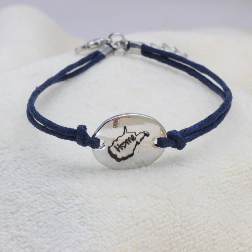 Personalizado ajustable cuerda azul oscuro pulsera WV Inicio pulsera para hombres y mujeres gota regalo YP0066 envío