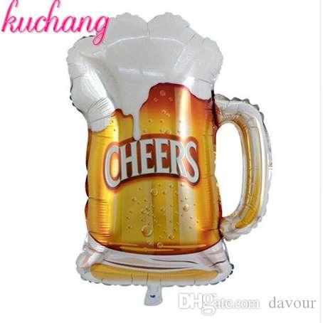 35inch BEER MUG CHEERS 샴페인 맥주 칵테일 축하 유리 머그잔 모양 헬륨 호일 풍선 생일 파티 장식