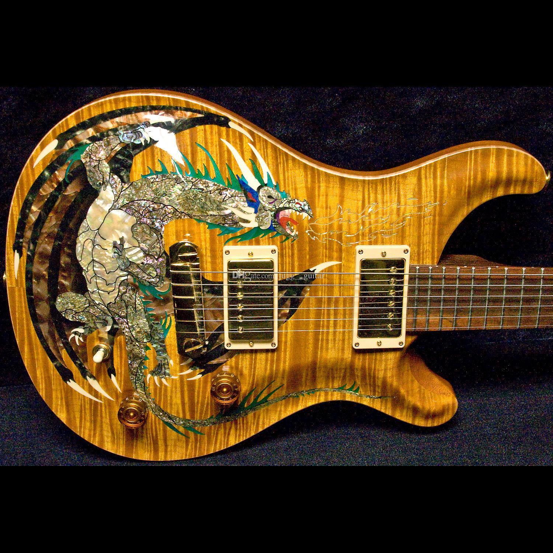 Dragon 2000 # 30 바이올린 호박색 불꽃 메이플 탑 전기 기타 없음 Fretboard 인레이, 이중 잠금 트레몰로, 나무 바디 바인딩