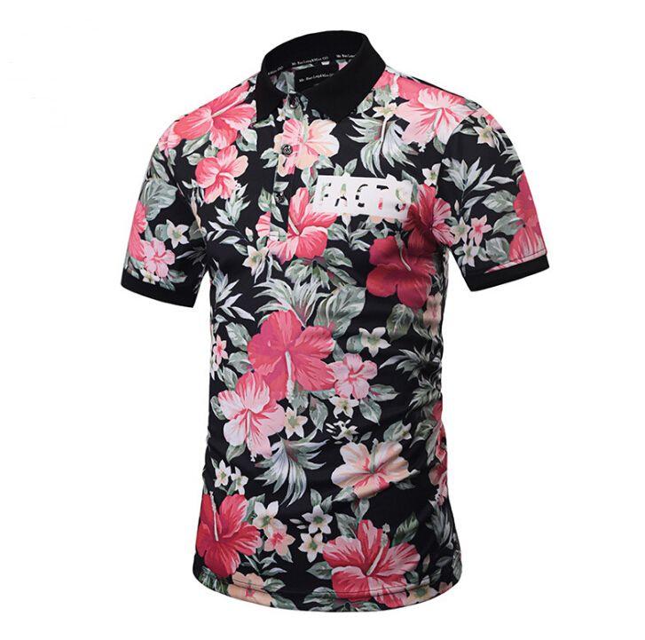 الأزهار المطبوعة الصيف قميص هاواي مهنة الأزياء قمصان الرجل نمط جديد عارضة