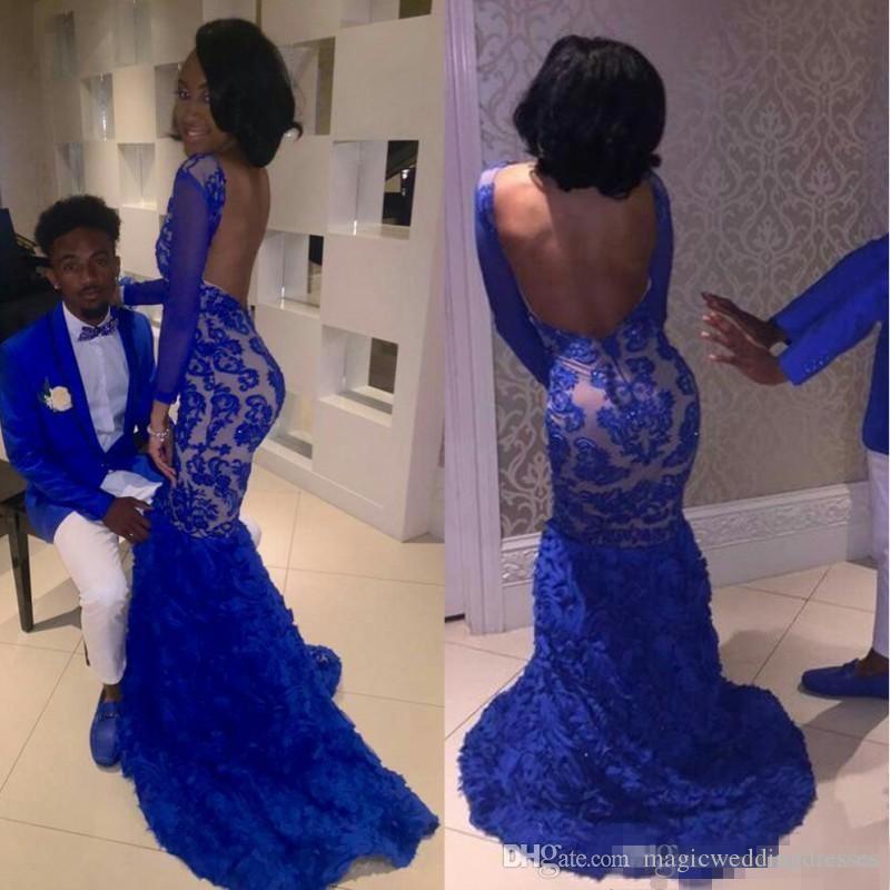 Black Girl 2K17 Royal Blue Lace Prom Vestidos de noche Mermaid Bateau Illusion Mangas largas Vestidos de Fiesta Vestidos de celebridad árabe BA5129