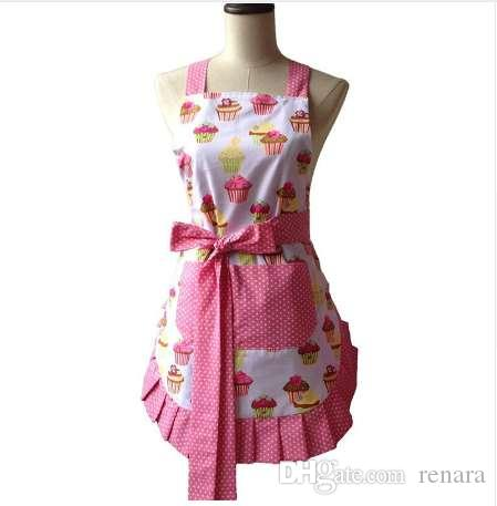 Retro Kitchen Apron Woman Flirty White Apron Frosted Cupcake Striped Polka Dot Ruffled Salon Avental de Cozinha Divertido