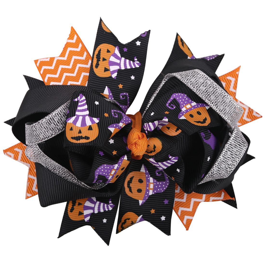 10pcs Halloween Multicolor Hair Clips Bows Kids Boutique Festival Gift For Girls Cute Cartoon Pattern Hair Accessories Gift