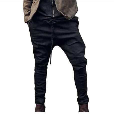 Homens Harem Pants Moda Calças Casuais Homens Calças Low Crotch Pant Homens Corredores Pés Calças penduradas virilha