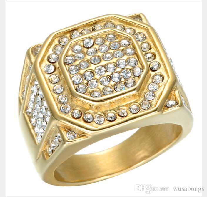 Роскошные мужские кольца с шестигранными кольцами с бриллиантами из сплава хип-хоп