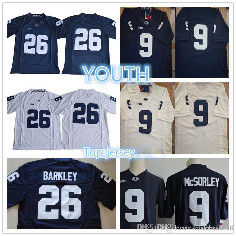Jugend # 26 Saquon Barkley # 9 Trace McSorley Jungen Marineblau Weiß Kinder Penn State Nittany College Fußball Trikots Billig