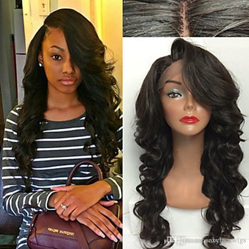 Top Sale 1b# 2# 6# Black Deep Wave Long Wavy Wigs High Quality Heat Resistant Glueless Synthetic Lace Front Wigs for Black Women