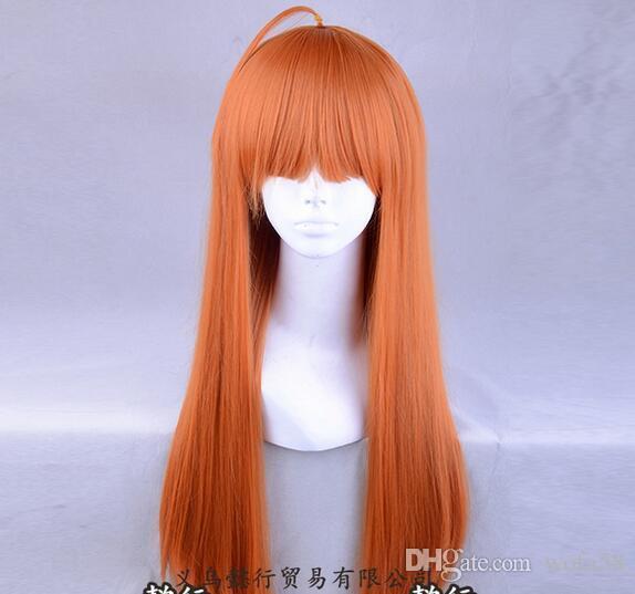 Juego Persona 5 Futaba Sakura largo y recto naranja cosplay peluca llena