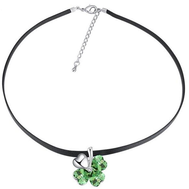 New Designs Love Heart Clover Necklaces Pendants For Best Friends Gift Crystals from Swarovski Elements Chain Necklace Jewelry 24882