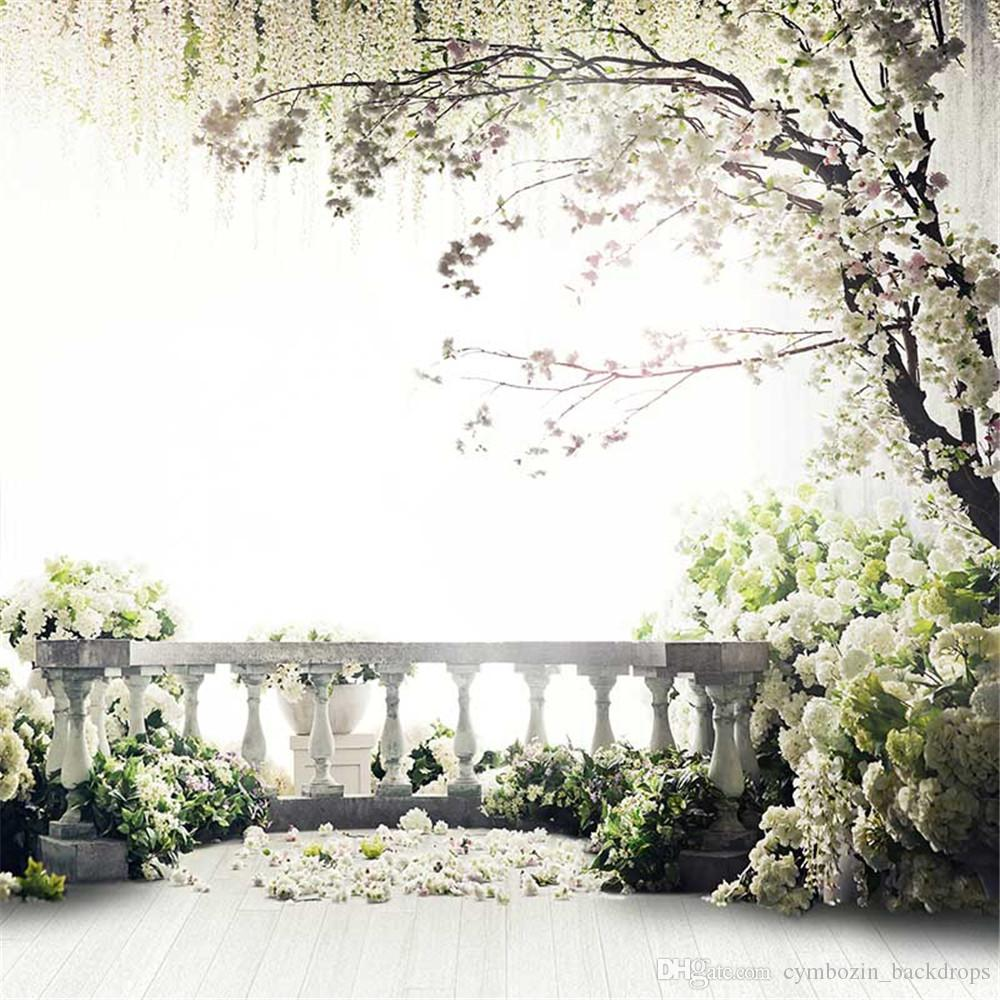 Jardim Varanda Primavera Flores De Fundo De Casamento Fotografia Impresso Flor Árvore Crianças Crianças Estúdio De Fotografia Backdrops Piso De Madeira