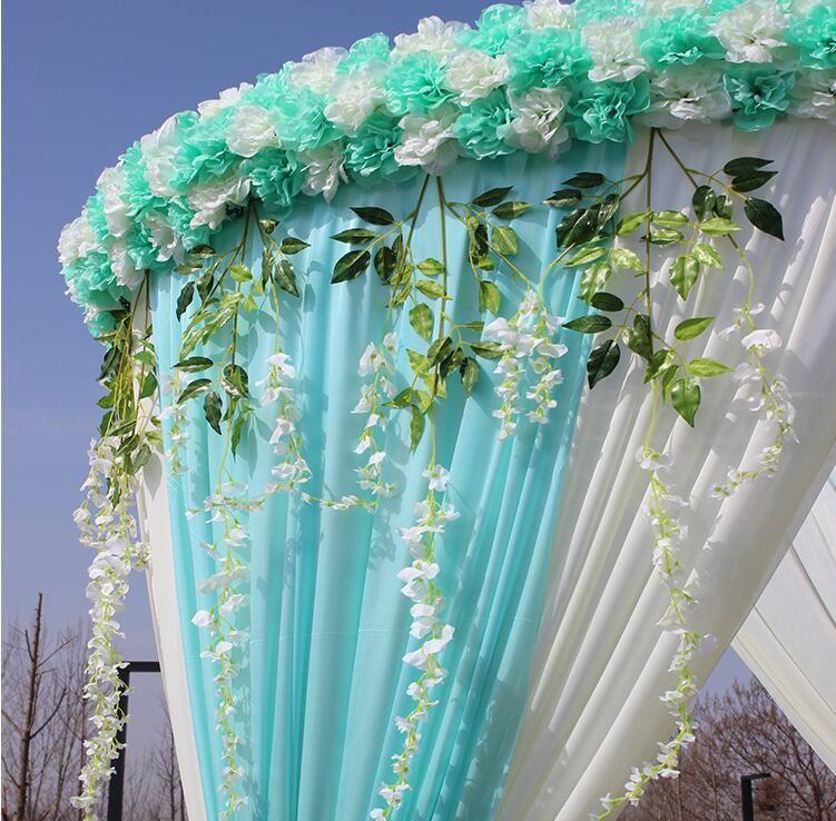96 * 25CM fileiras elegantes Flor artificial 3D Wedding Centerpieces Estrada Citado Flor Runner Tabela Decoração Suprimentos 2020
