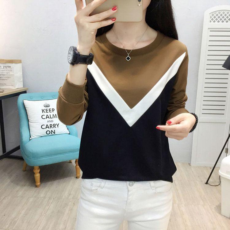 Plus Size Tshirt Women Fashion Long Sleeve T-shirt Women Tops Casual Camiseta femme Patchwork Tshirts Women Poleras Mujer 2019 (6)