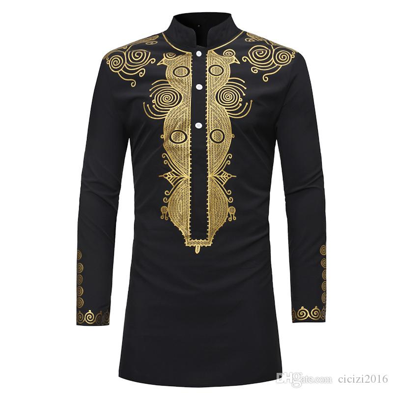Men Shirt African Style Clothing Men's Clothing Africa Dashiki Traditional National Hot gold Printed Long-sleeved Shirt White M-08
