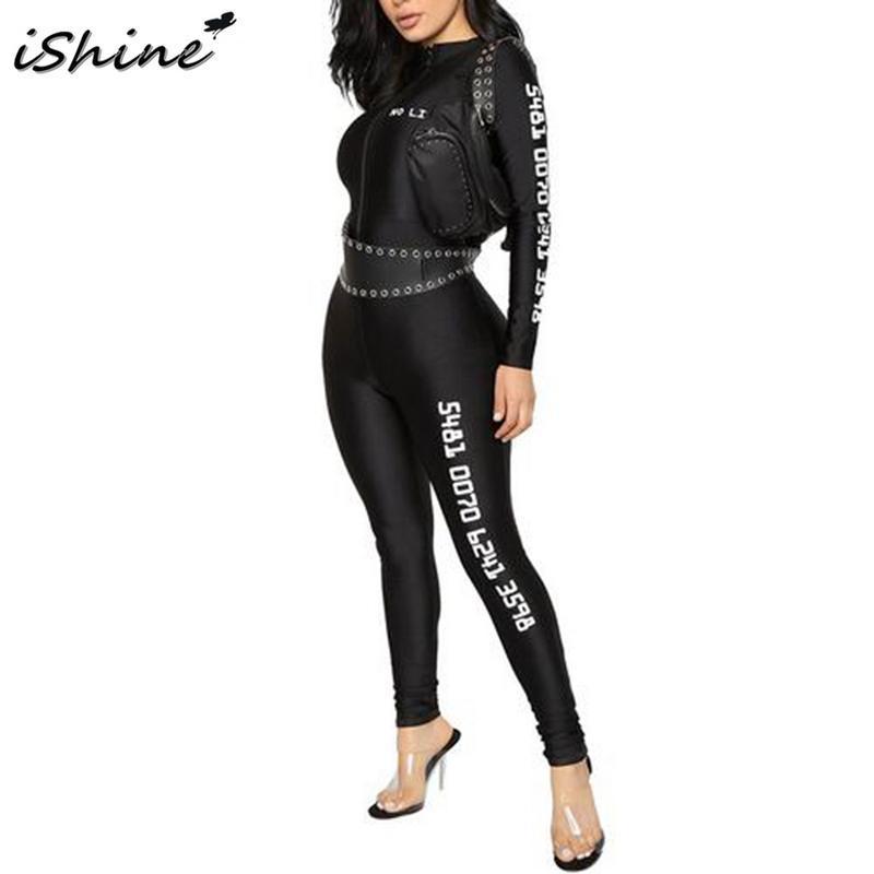 iSHINE 2018 Women's Fashion Jumpsuit Offset Printing Zipper Front Long Sleeve Drawstring Jumpsuit Black Casual