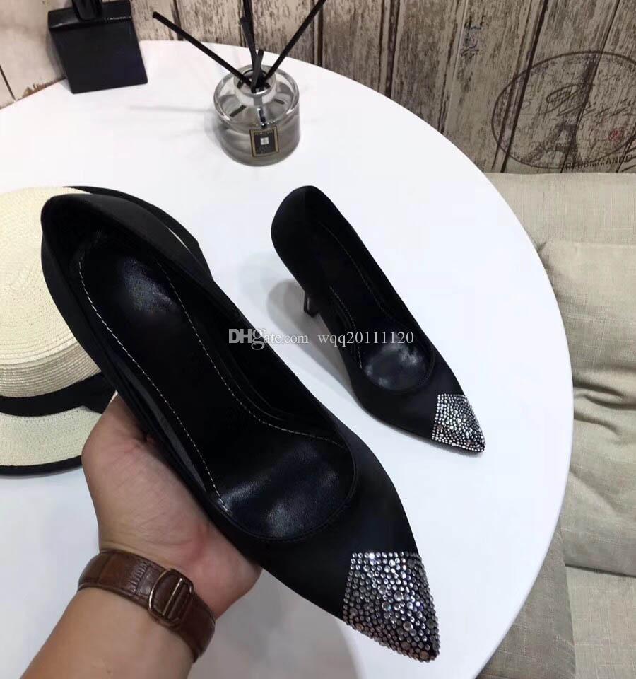 Kadınlar yüksek topuklu elbise ayakkabı parti moda perçinler kızlar seksi sivri burun ayakkabı toka platformu pompaları düğün ayakkabı siyah beyaz ...