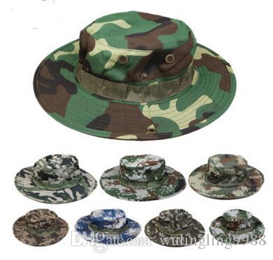 Cappello del secchio di cotone per gli uomini Fashion Military Camouflage Cappelli del pescatore del pescatore con il cappello della secchiella del secchiello del pescatore del nero largo Cappello da caccia del campeggio
