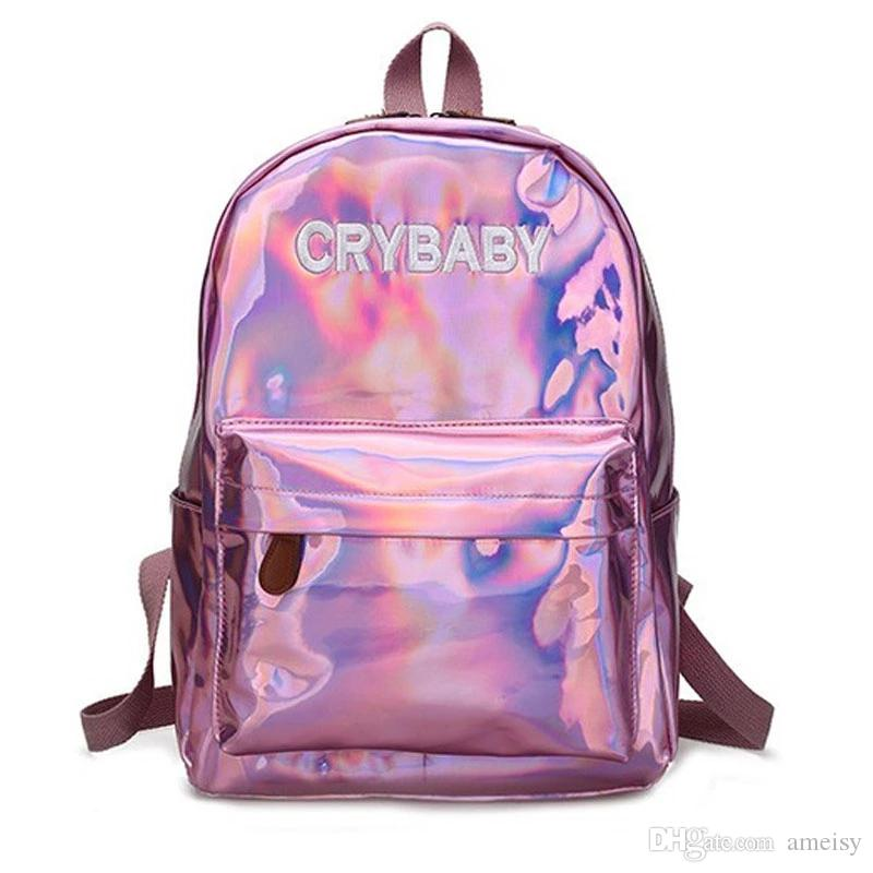 Hot Sale Embroidery Letters Crybaby Hologram Laser Backpack Women Soft PU Leather Backpack School Bags For Girls Free Shipping