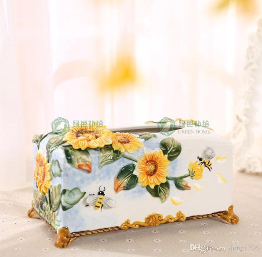scatola del tessuto di girasole in ceramica Case arredamento casa artigianato decorazione della stanza porta carta ornamento figurine di porcellana decorazione di nozze