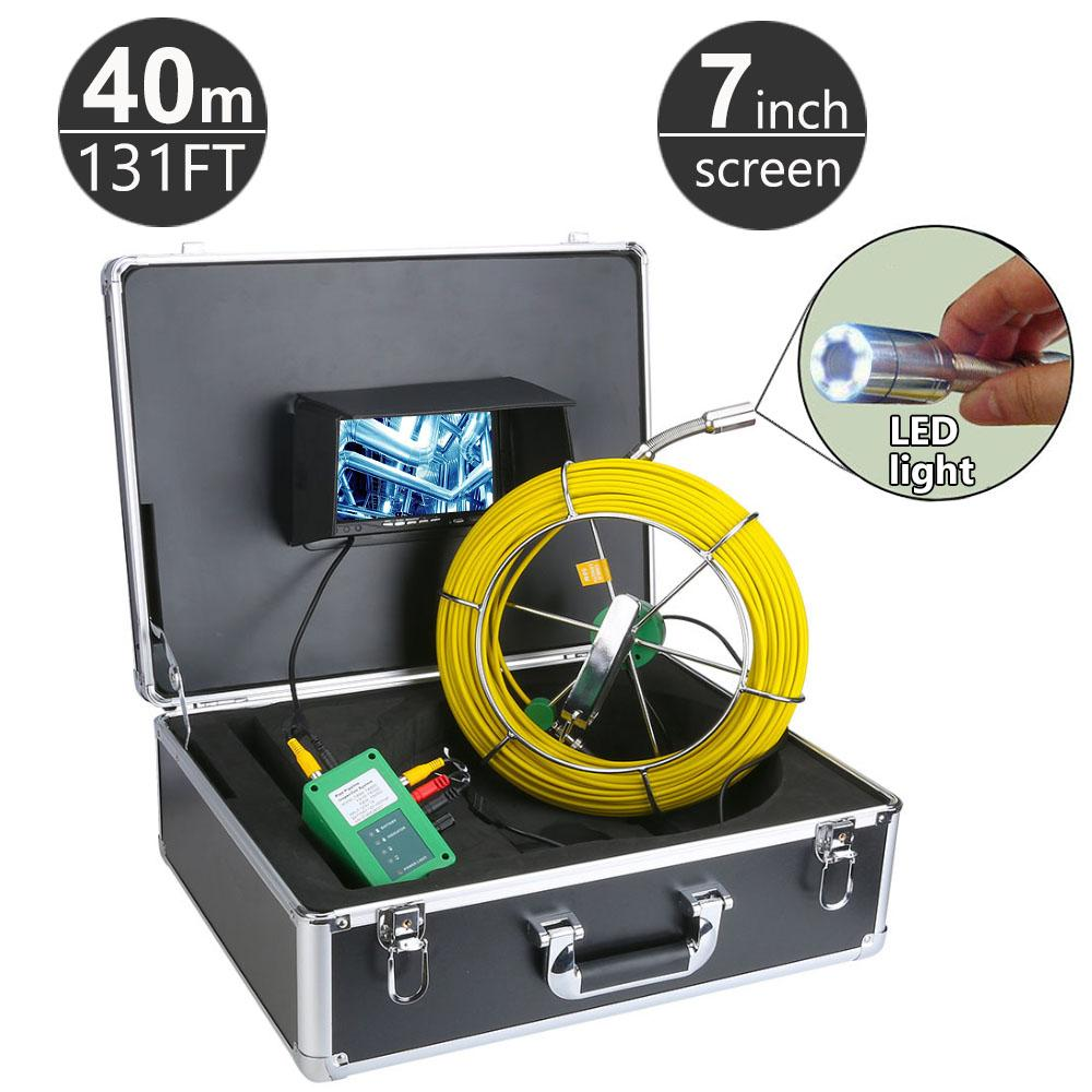 """40M/131ft Sewer Pipe Pipeline Drain Inspection System 9"""" LCD Monitor 1000TVL Snake Drain Waterproof Pipe & Wall Video Camera"""