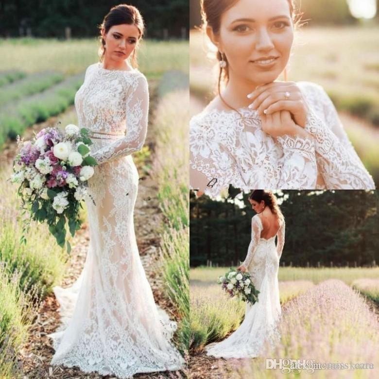 2018 vestidos de novia de encaje modestos de manga larga sin espalda barrido tren sirena vestido de novia más tamaño país vestidos de novia baratos