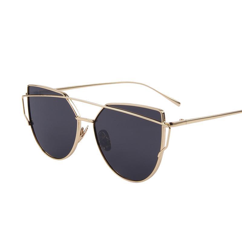 Солнцезащитные очки с зеркальными красными кошачьими очками Женские очки дизайнерских брендов старинные ретро очки для кошек Oculos розовое золото черные синие солнцезащитные очки Y19