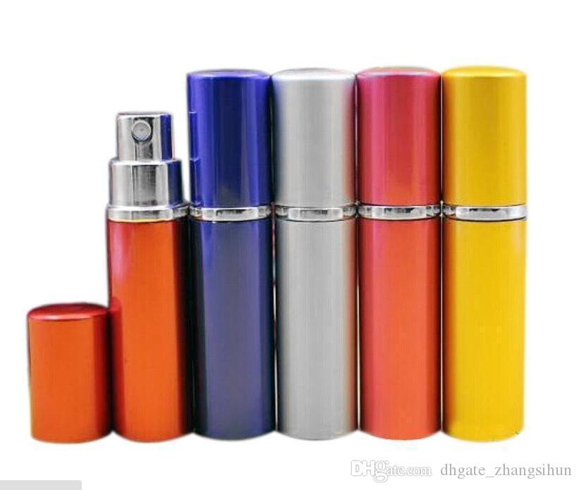 флакон духов 5мли 5cC Гладкий алюминиевой анодированный Компактные парфюмерный Aftershave распылитель Атомайзер аромата стеклянные Флаконам 7 цветов