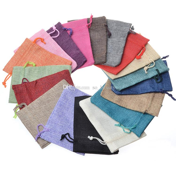 10*15cm Colors Linen Drawstring Bags Wedding Favor Craft DIY Christmas Party Gift Bag (3.9*5.9 inch) 50 pcs/lot