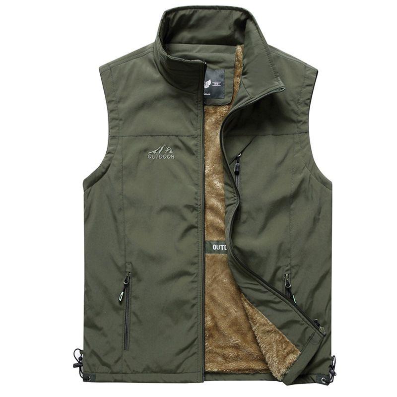 Mens Vest Outerwear Lightweight Casual Outdoor Travel Fishing Winter Fleece Vest Jackets Full Zip Golf Vests for Men L-5XL