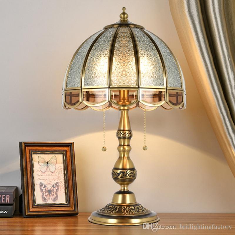 Continental retro pieno lampada da tavolo in rame camera da letto comodino lampada da tavolo di lusso da sposa hotel club lampada da tavolo in rame di illuminazione a led