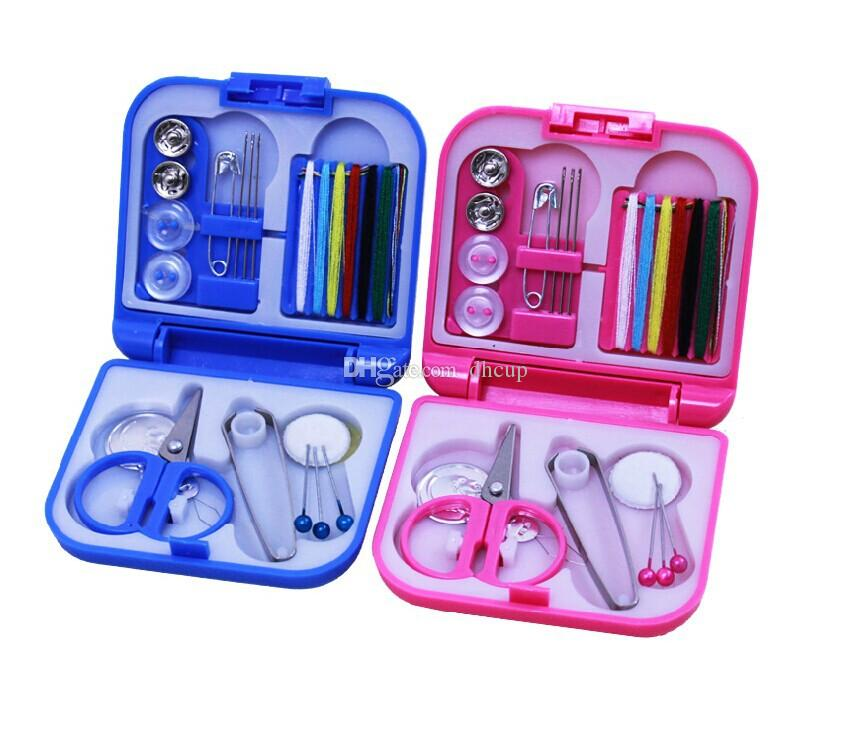 Blue & Pink Mini Portable Travel Sewing Kit Thread Needles Plastic Case Scissors Tape Pins Thread Threader Set Sewing Tools Set