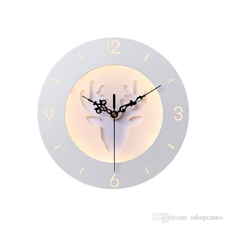 Yaratıcı Saat Duvar Lambası Başucu Yatak Odası Dekoratif Işıklar Oturma odası TV Arka Plan Duvar çocuk Odası Işık Fikstürü