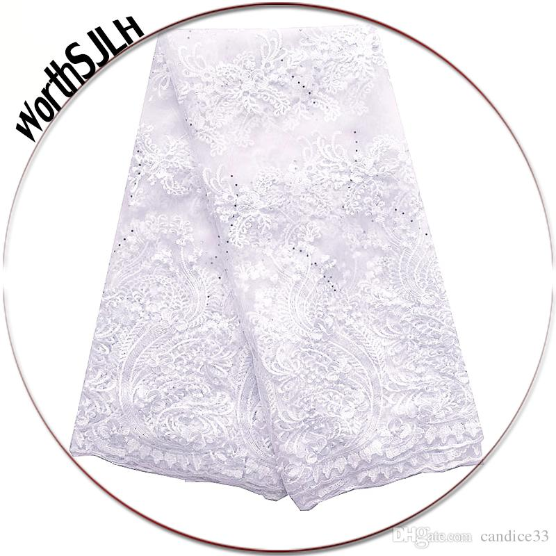Bridal White Lace Fabrics For African Parties Embroidered Guipure Lace Fabric Peach African Lace Fabric 2018 High Quality
