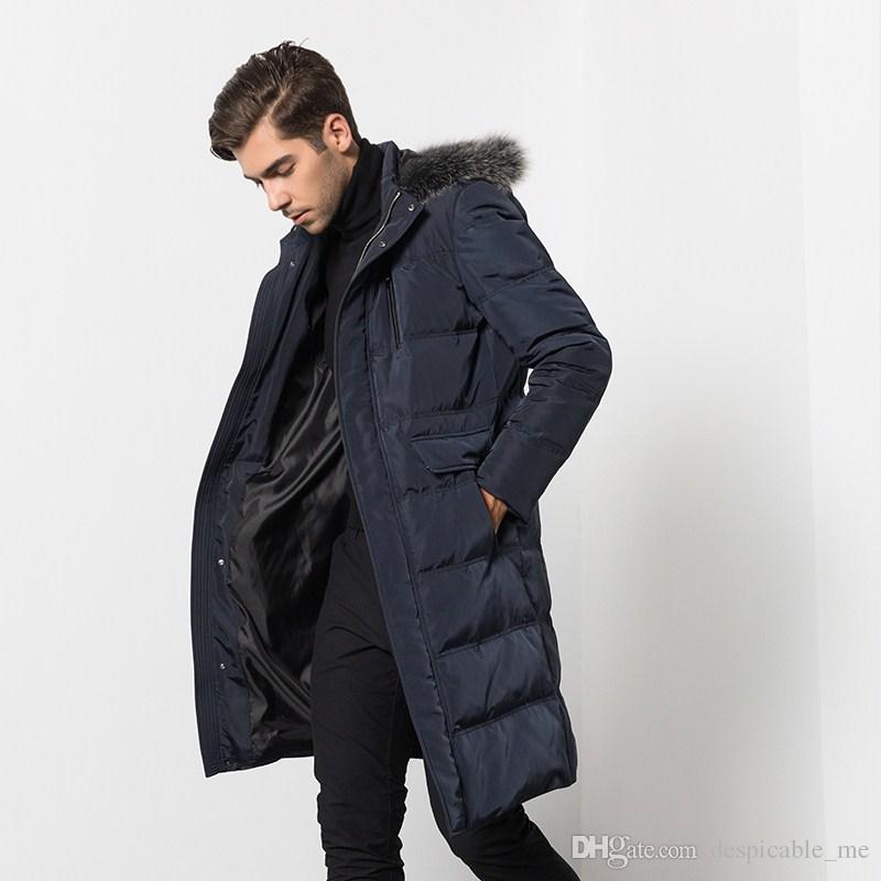 Gola de pele de raposa de inverno pato branco para baixo quente jaqueta de luxo de alta qualidade business casual dos homens longo com capuz para baixo