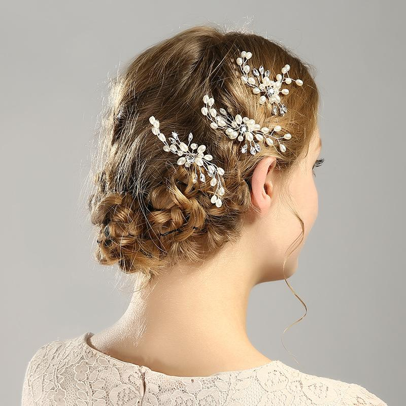 2 colors Explosive bridal hairpin Gold and silver white pearl hairpin Bridal wedding dress accessories Comb flower bridal
