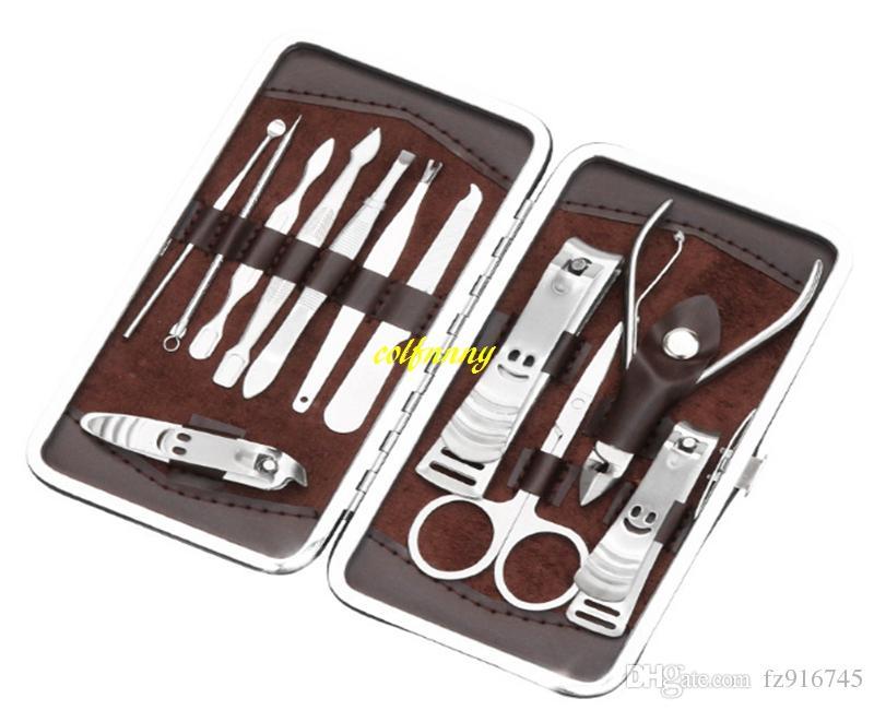 Envío gratis 12 en 1 kit de acero inoxidable del arte del clavo conjunto de manicura Herramientas para el cuidado del dedo del dedo del pie Nail Cutter Clipper File Scissor Pinzas