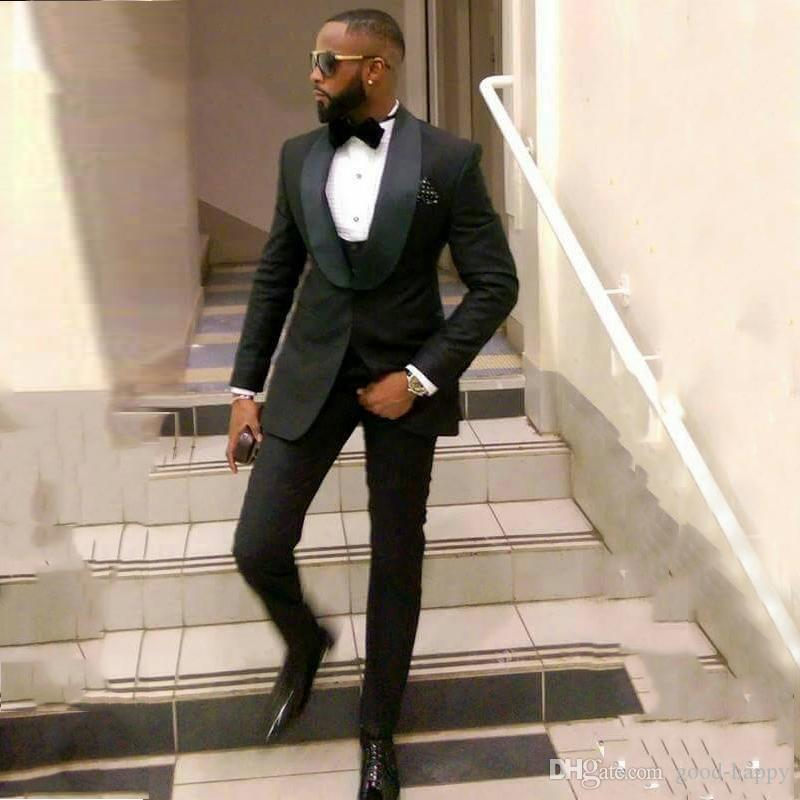 Slim Fit Siyah Damat Smokin Mükemmel Erkekler Düğün Smokin Yüksek Kalite Erkekler Örgün İş Balo Parti Suit (Ceket + Pantolon + Kravat + Yelek) 883