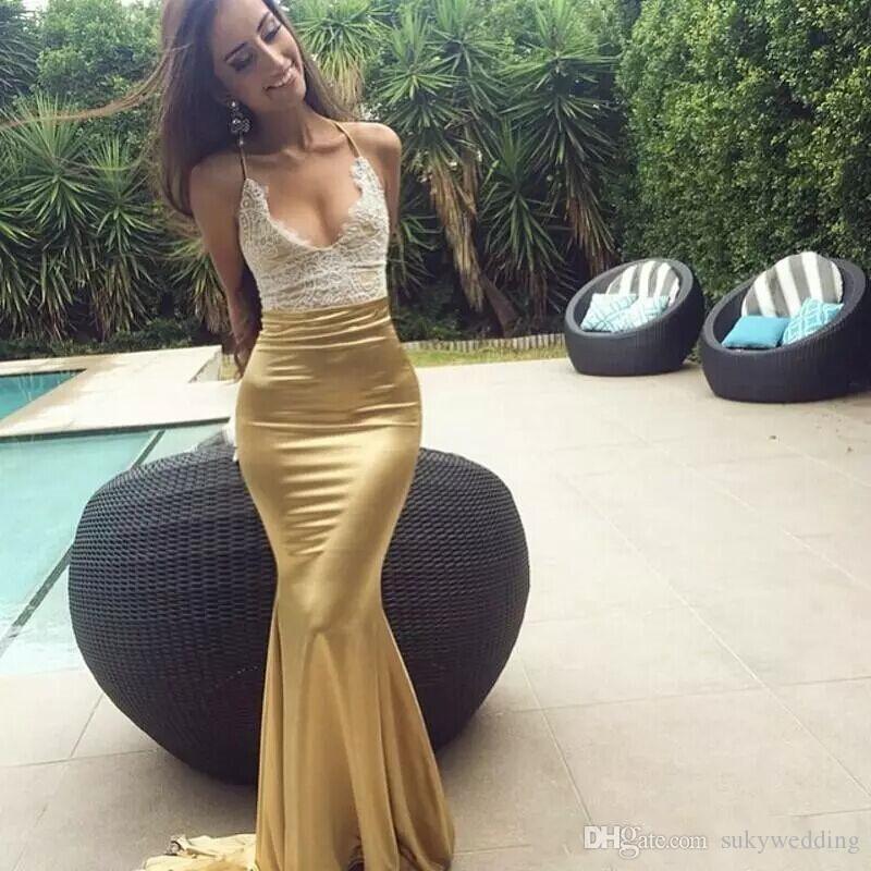 New Arrival Mermaid Lace Top Prom Dresses Long Gold Skirt Halter Sexy Formal Dresses Party Evening Wear Cheap vestido de novia