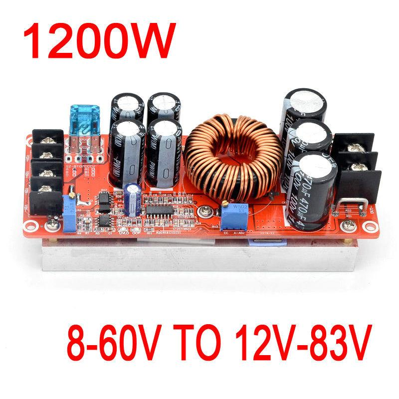 Freeshipping 1200W 20A DC-DC Converter Boost Power Supply Module 8-60V Step-up TO 12V-83V 24v 48V 19V 72V Voltage Regulated