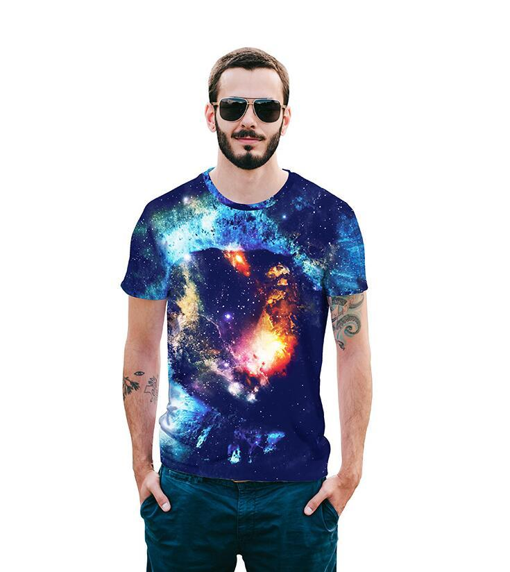 2018 summer new European Code digital starry 3D men Hot Sale T-shirts Street young big code shirts