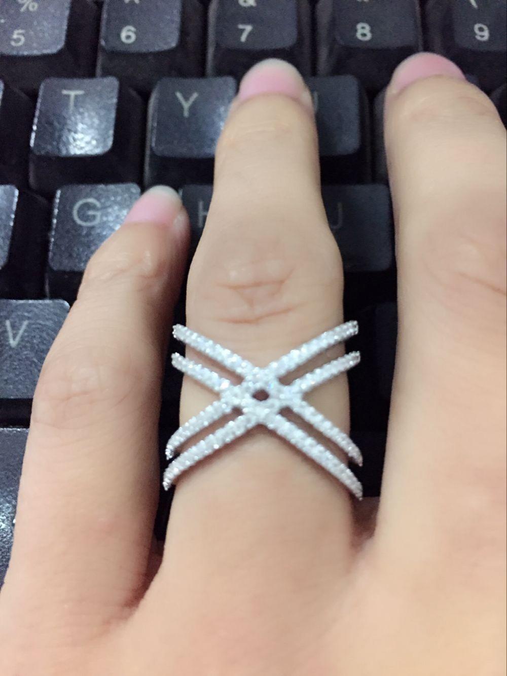 حقيقي 925 الفضة الاسترليني حجم 6،7،8،9 مايكرو تمهيد تشيكوسلوفاكيا مزدوجة كريسس الصليب العاشر الدائري ل زفاف المرأة فنجر مجوهرات D18111405