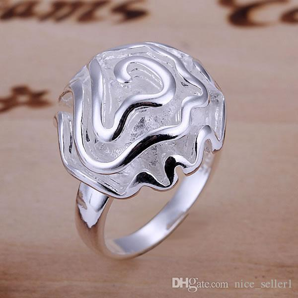 Fine 925 Sterling Silver Ring for Women Men,New Arrival XMAS Wholesale Fashion jewelry 925 Silver Classic Flower Ring Link Italy 6#-10# AR05