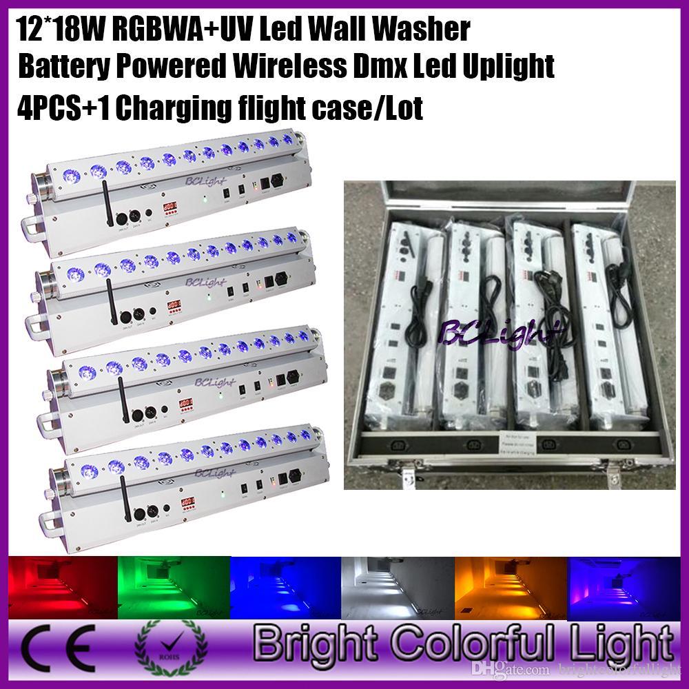 4pcs/lot New Arrival 12x18w wireless dmx led wash light ,Led battery wall washer RGBWAUV wireless dmx led uplight for party DJ