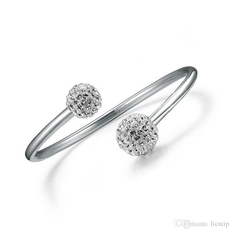 925er Sterlingsilber-geöffnete Frauen-Stulpe-Armband-justierbare Größe Shambhala-Kristallkugel-Armband-Art- und Weisecharme-Schmucksachen