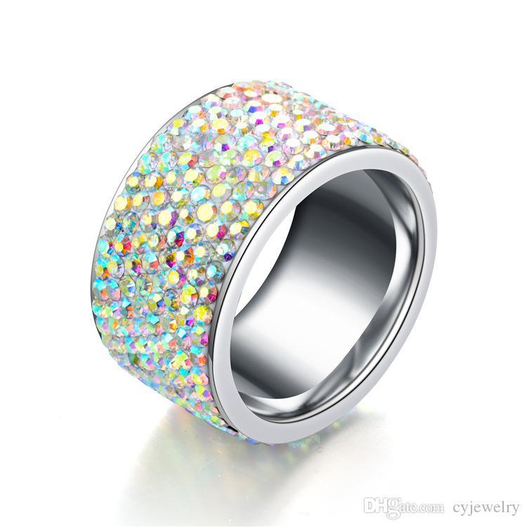 Mode 12 MM Breite Farbe zirkon CZ Ring Romantische Liebe Schmuck Frauen edelstahl ring Größe 6-9 #