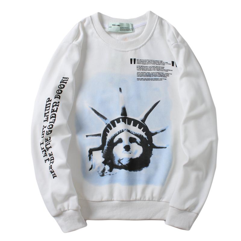 2020 Fashion Couple Hoodie American Statue Of Liberty Torch Sweatshirts Luxury Hoodies White Hooded Sweater Off Men Women Pullover From