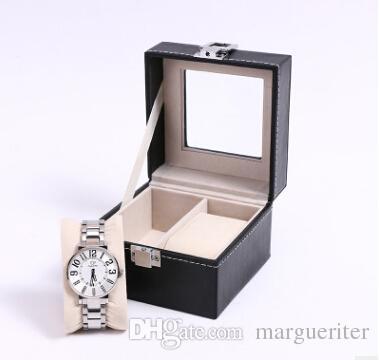Watch Storage Box 2 Grid Wrist Watch Storage Bin PU Leather Jewelry Display Organizer Square Bracelet Holder